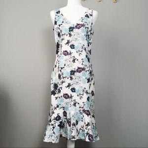 Asos Dress Floral Peplum Scuba Bodycon Midi Dress